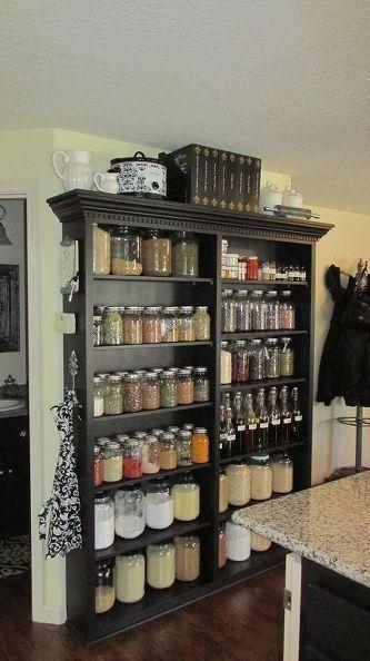 Beautiful and elegant mason jar storage cabinet and pantry