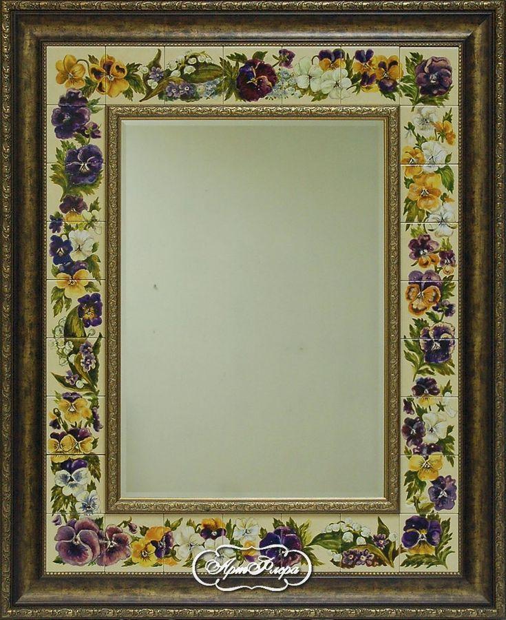 """Зеркало с фацетом """"Анютины глазки"""" 90 х 100 см, 23 000 рублей."""