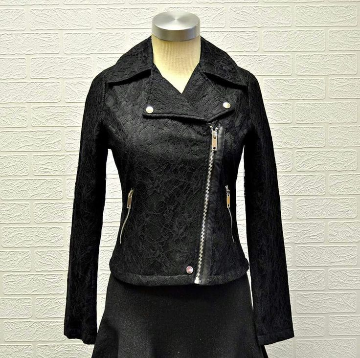 Lovely #lace biker jacket now available at #NicciBoutiques #NicciWinter2015