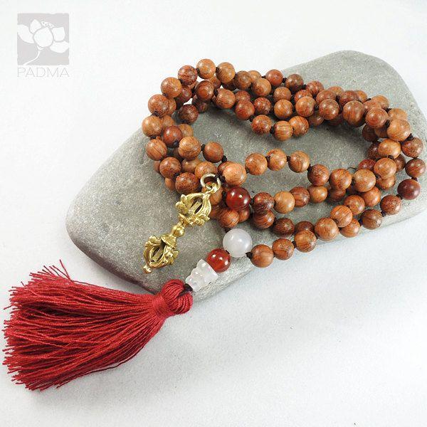 108 Natural Wood Beads Five Pronged Brass Vajra by PadmaZenArt