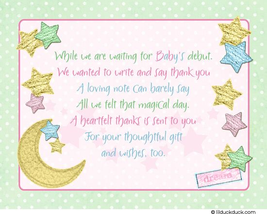 Baby Gift Thank You Wording From Baby : Thank you notes girl baby shower twinkle little