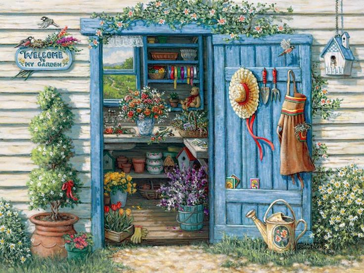 Janet kruskamp 39 s paintings welcome to my garden a for Gardening tools crossword