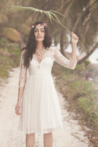 bhldn lace 3/4 length sleeves, sheer lace, sweetheart top, knee length
