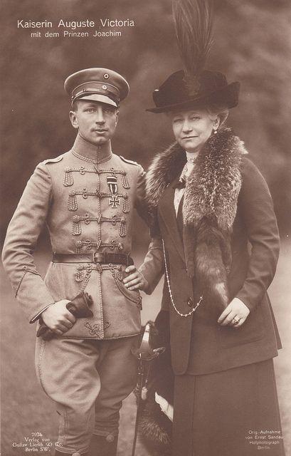 Prince Joachim of Prussia with his mother, Empress Augusta Viktoria, circa 1918. Joachim was Augusta's favorite son.