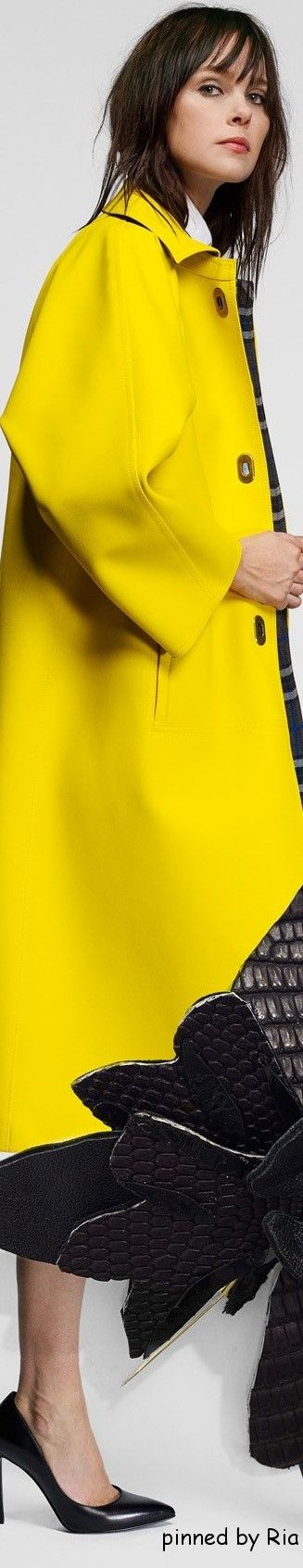AMARILLO....❤ yellow coat women fashion outfit clothing style apparel @roressclothes closet ideas