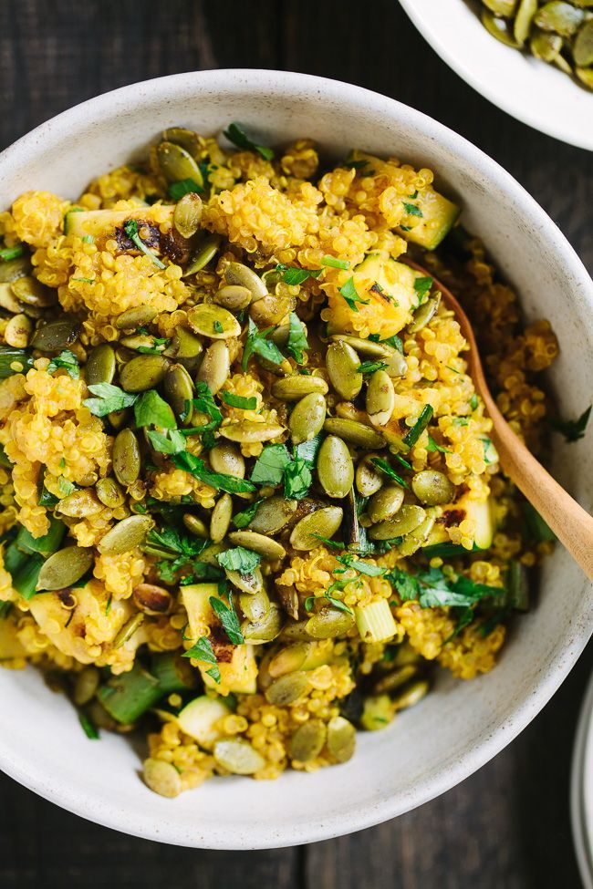 Curried Quinoa with Grilled Zucchini and Curry Lime Pepitas