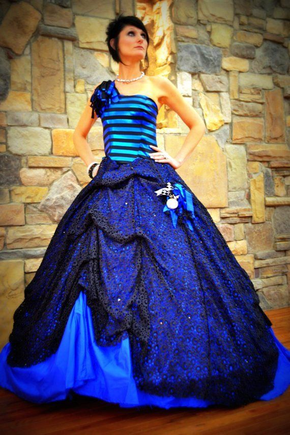 Blue Wedding Gown , Bridal Gown ,  Quinceanera Gown. Custom Designer Gown. Alice in Wonderland
