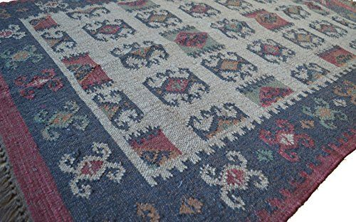 Kilim Rug Ethnic 4' x 6 ft Hand Woven Traditional Persian Style Wool Jute Asian