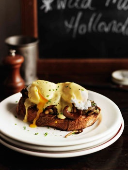 Mushrooms on toast with poached eggs and hollandaise~this is what I had at Mart 130 in Australia. 'Twas delicious!!