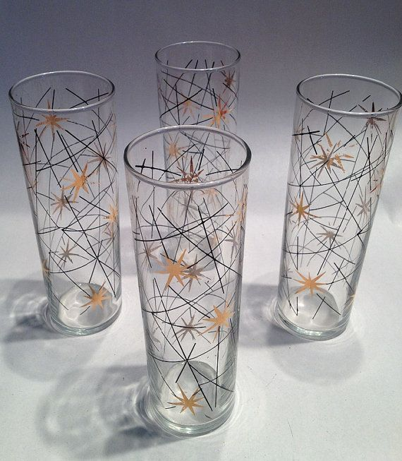 Set of 4 atomic age drinking glasses midcentury starburst pattern on etsy vintage - Starburst glassware ...