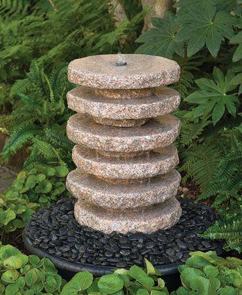 4707: Granite Stacked Fountain Charleston Gardens