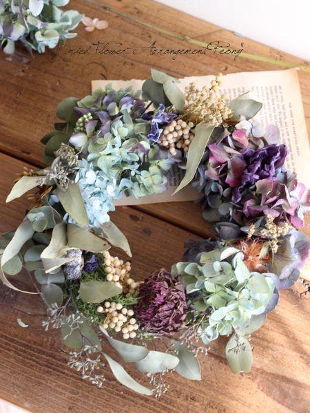 ジニアとアンティークブルーのリース - ドライフラワーリース/ウェルカムボード/ ウェルカムリース| Dried Flower Arrangement ''Peony'' ピオニー