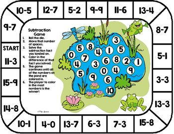 Subtraction Game Board This unique subtraction game board is a fun, hands-on activity that engages students as they practice subtraction fact fluency.This game can easily be used in small group instruction, math centers, whole class activity, as a supplemental to your math curriculum, as a fast finisher activity, or to differentiate your instruction. There is no prep for this games. Ready to simply print and play!