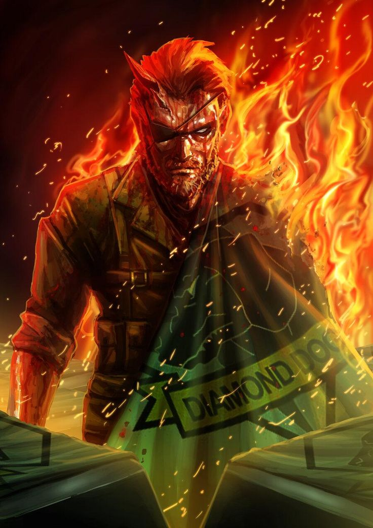 Wicked fanart of Big Boss taking inspiration from the Nuclear trailer of Metal Gear Solid V.
