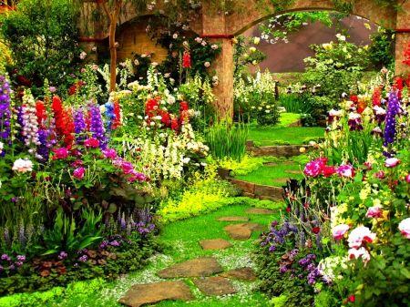 desktop backgrounds flower gardens flower garden garden flowers stepping stones colours. Black Bedroom Furniture Sets. Home Design Ideas