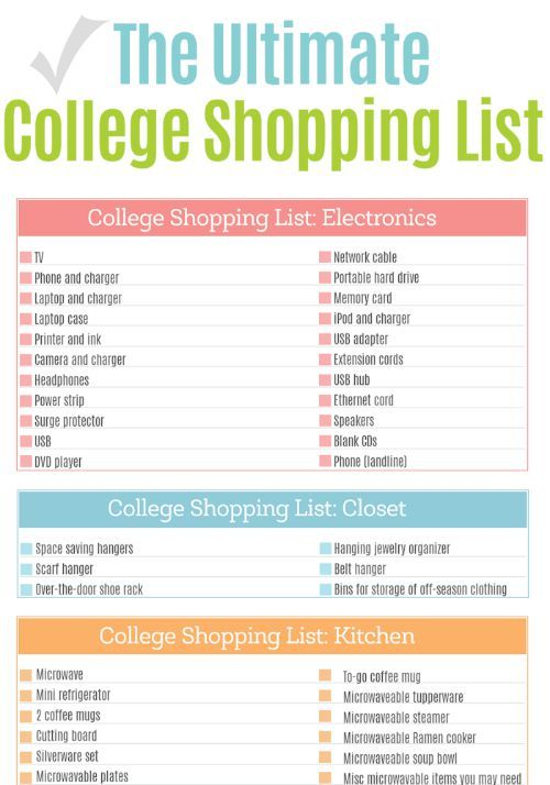 the ultimate college shopping list printable shopping. Black Bedroom Furniture Sets. Home Design Ideas