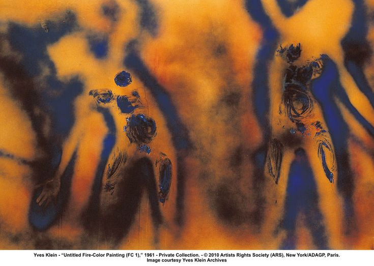 """05.09.2012--""""FC1"""" by Yves Klein, created by two water-drenched models imprinting a board then Klein torching the board with a blow torch."""