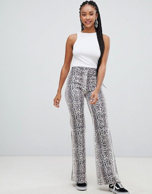 af8c9740c74e Browse online for the newest Bershka snake print wide leg pants styles.  Shop easier with ASOS' multiple payments and return options (Ts&Cs apply).