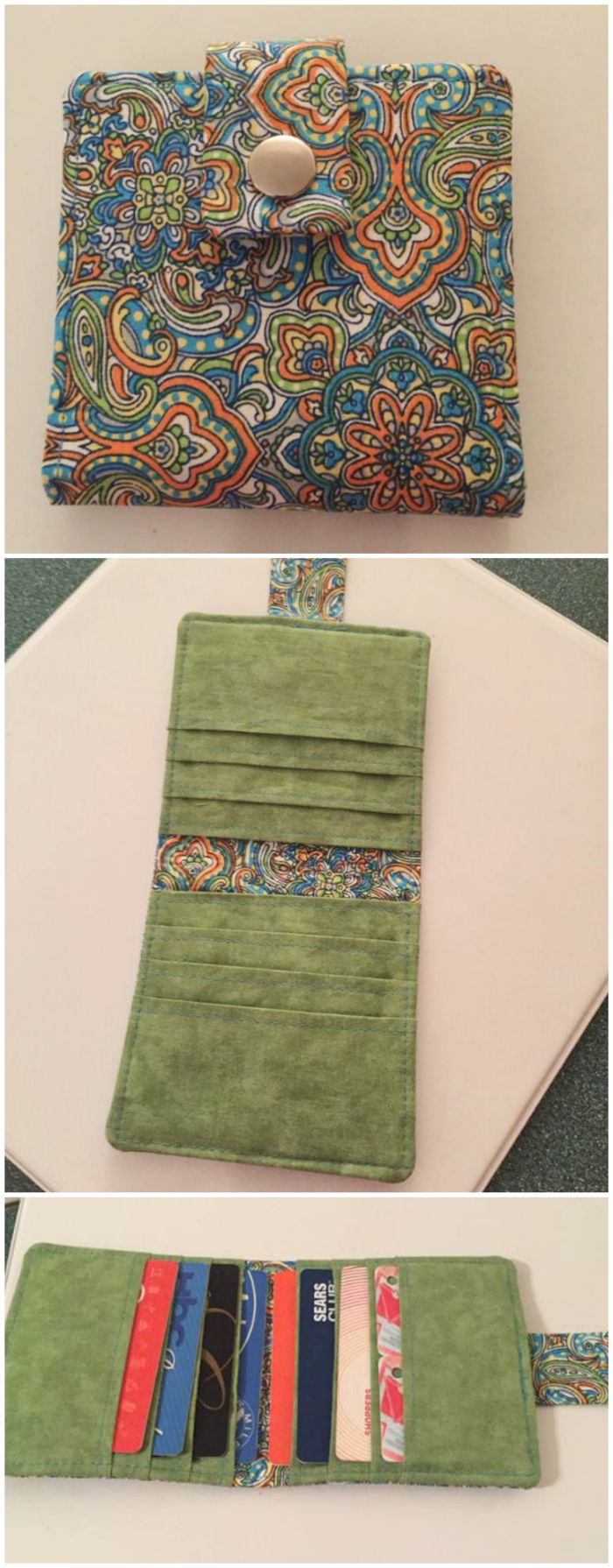 How to sew a simple wallet, plus 2 more advanced wallet projects. 3 sewing patterns included.