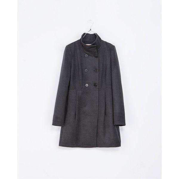 Zara Basic Coat (39.180 CLP) ❤ liked on Polyvore featuring outerwear, coats, zara, grey marl, marled coat, fur-lined coats, zara coats, grey coat and gray coat