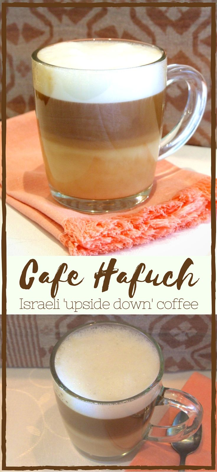 A delicious milky coffee with layers of hot milk and espresso topped with milk foam. Beautiful to look at and fantastic to drink! An Israeli treat.