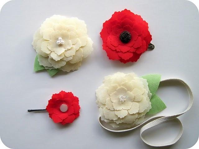 Flower hair clips using Silhouette machine.