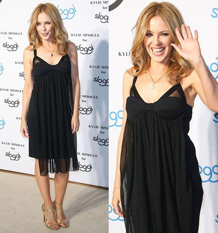 Kylie Minogue Promotes Her Underwear Range for Sloggi in 2 Jimmy Choo Heels