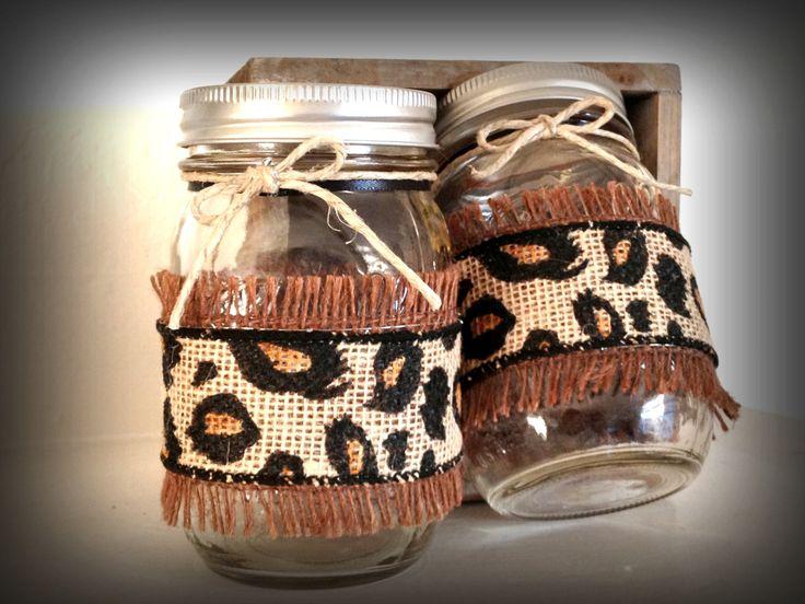 Burlap mason jar, leopard print burlap mason jar, Decorated mason jar, cheetah print centerpiece, animal print decor by QUEENBEADER