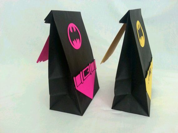 Batman or Batgirl party bags with capes and belts, goodie bags, gift bags, party bags superhero bags on Etsy, $24.99
