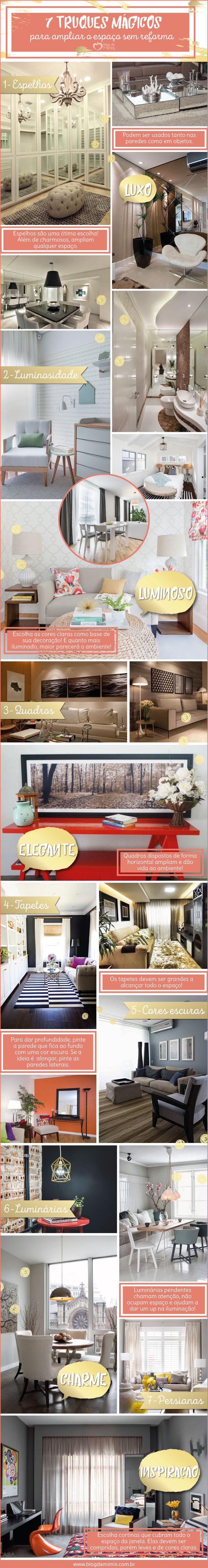 7 Truques mágicos para ampliar o espaço sem reforma - Blog da Mimis #decor #espelhos #luminárias #home reforma #ampliar
