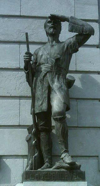 Pierre Gaultier de Varennes et de la Vérendrye (1685-1749), outside the National Assembly in Québec City. A French Canadian military officer, fur trader and explorer, Gaultier and his four sons opened up the area west of Lake Superior. He was the first European to reach North Dakota and the upper Missouri River.