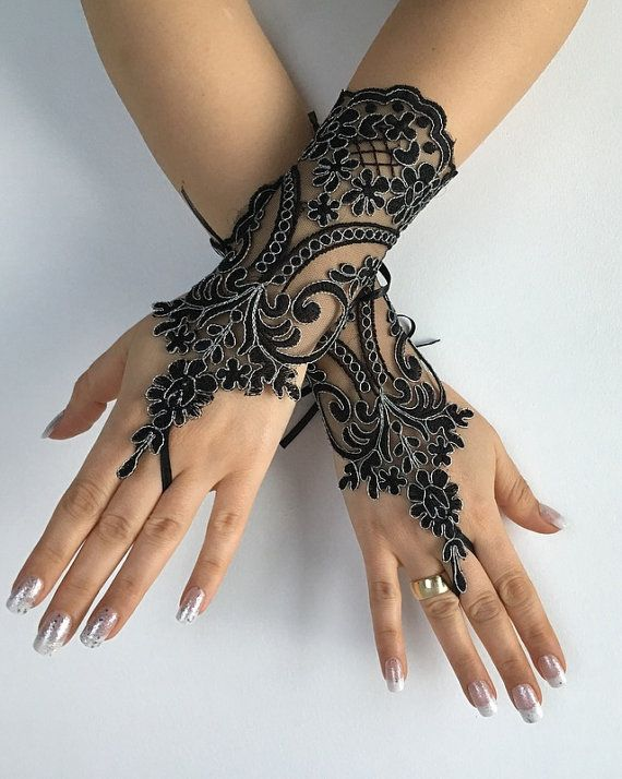 Black silver frame lace gloves FREE SHIP by LaceBarefootSandals