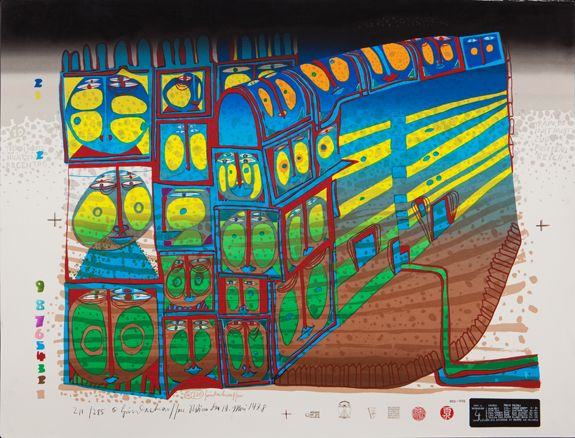Friedensreich Hundertwasser Night Train, 1978 Silkscreen in 10 colors with metal imprints in 2 or 3 colors respectively Format 555 x 530, Image 515 x 730 Edition of 285