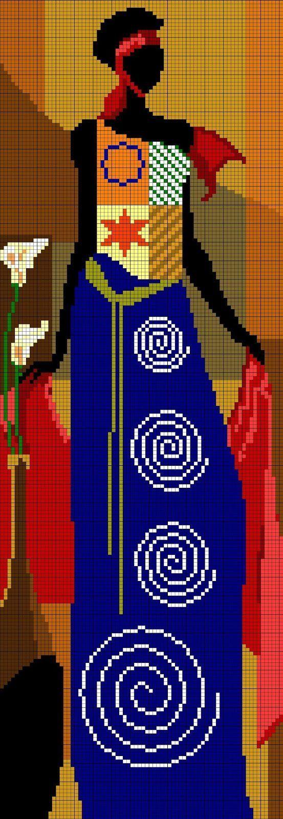 point de croix femme africaine en robe bleue - cross stitch african woman in blue dress
