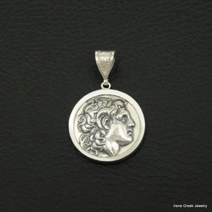 ALEXANDER THE GREAT COIN PENDANT 925 STERLING SILVER GREEK HANDMADE ART BIG RARE #IreneGreekJewelry #Pendant