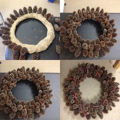 Pine cone wreath DIY