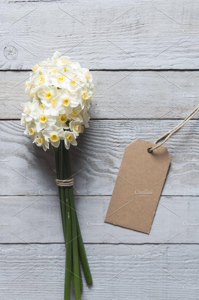 White narcissus flowers and card by Irantzu Arbaizagoitia on @creativemarket