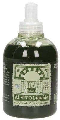 TEA Natura Savon d'Alep 25 % HBL* - 300 ml Ce savon traditionnel aux huiles végétales, fabriqué de manière artisanale en Syrie, a une qualité particulièrement élevée. Il adoucit, apaise, hydrate et augmente l'élasticité de la peau. L'arôme de laurier est caractéristique de ce savon.  Le laurier possède d'excellentes propriétés antiseptiques et anti-rhumatismales. Il est recommandé pour les peaux généralement sensibles, en cas d'acné, de sécheresse, de rougeurs, de mycoses et d'allergies…