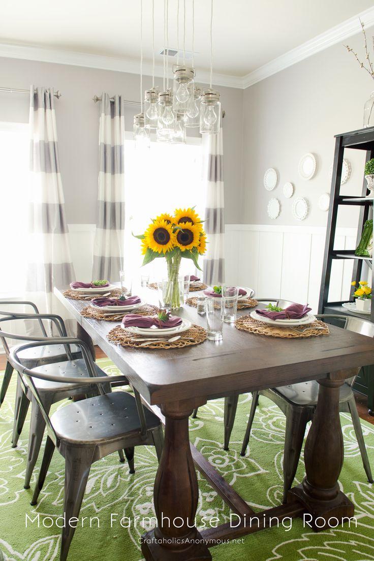Modern Farmhouse Dining Room Office Reveal: Modern Farmhouse Fall Dining Room