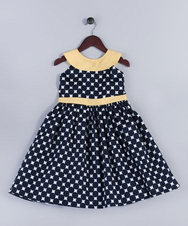 Look at this #zulilyfind! Navy & Yellow Dot Yoke Dress - Girls #zulilyfinds