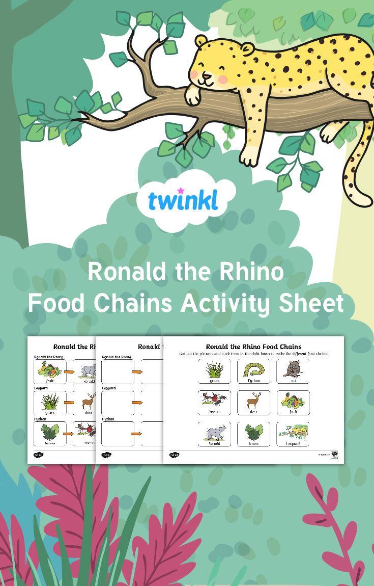 Ronald The Rhino Food Chains Worksheet Food Chain Activities Food Chain Worksheet Simple Food Chain [ 1150 x 735 Pixel ]