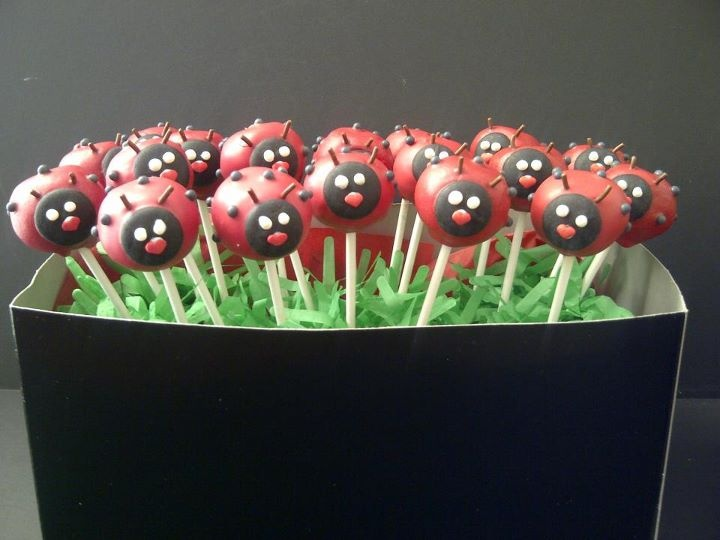 Love this luscious ladybugs from The Gourmet Pop! via https://www.facebook.com/photo.php?fbid=371861482833793&set=a.202845773068699.50216.197329406953669&type=1&theater