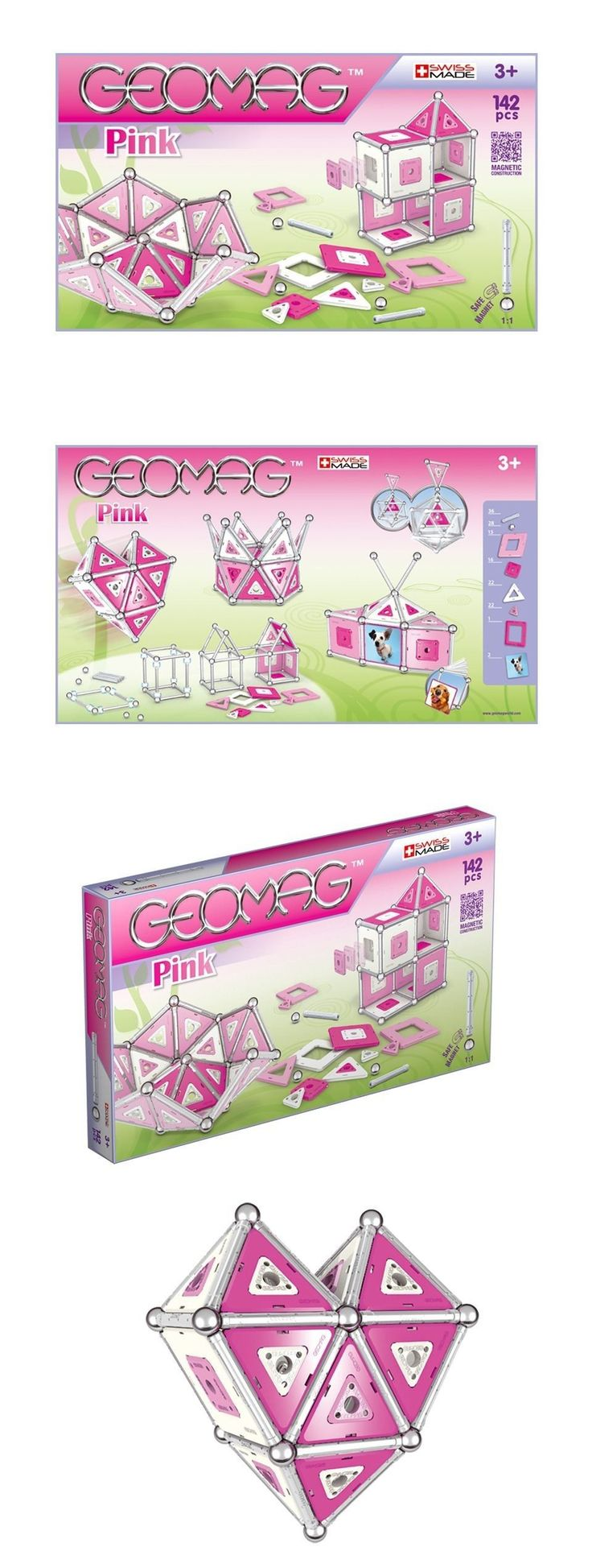 Geomag 73248: Geomag Kids Pink Panels 142 Constuction System Magnetic Toy Set - Swiss Made -> BUY IT NOW ONLY: $89 on eBay!