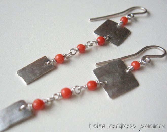 """Orecchini """"Square&rectangle""""corallo arg.925  di Petra Handmade Jewellery su DaWanda.com"""