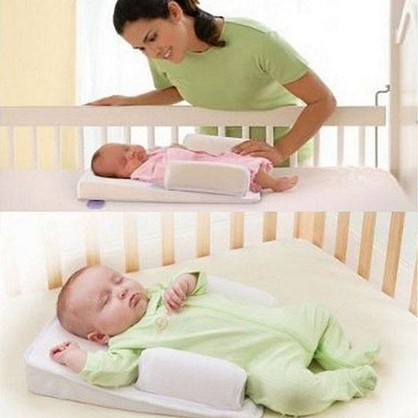 Baby Sleep Positioner Pillow  Anti Roll Sleeping Mat Safe Head Back Waist Support    This is a comfortable support when baby sleeps.  Crib wedge featu