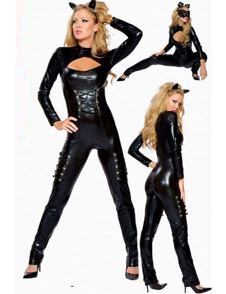 Sexy Black Faux Wet Look PVC Catsuit Jumpsuit Keyhole zip  fetish bondage 5080