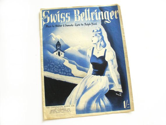 1940s sheet music with lyrics  The Swiss Bellringer by RetroDelia