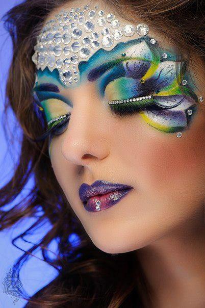 Stunning crystal enhanced fantasy  make-up by QNA Makeup Art.