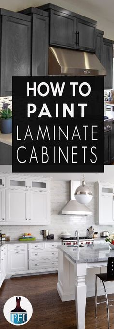 Learn how to paint your laminate cabinets and give your kitchen or bath a makeover!