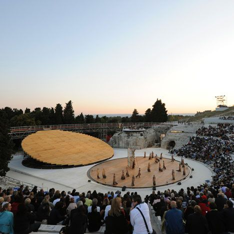 OMA have created a stage set for an ancient outdoor theatre in Sicily that dates back to the fifth century BC.